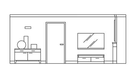 Hand drawn linear sketch of the interior living room. Outline drawing modern design. Vector illustration on sketch style. Design for coloring page, card, banner, flyer, template, landing page
