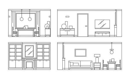 Hand drawn set linear sketch of the interior living room. Outline drawing sofa, table, chair, lamp. Vector illustration on sketch style. Design for coloring page, banner, flyer, template, landing page Vettoriali