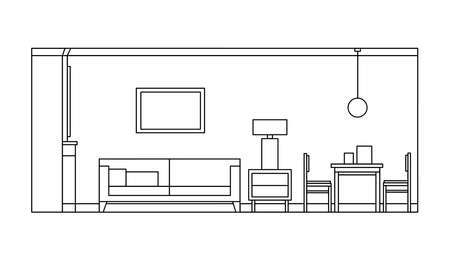 Hand drawn linear sketch of the interior living room. Outline drawing sofa, table, chair, lamp. Vector illustration on sketch style. Design for coloring page, banner, flyer, template, landing page