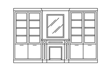 Hand drawn linear sketch of the interior living room. Outline drawing fireplace, mirror, bookcases. Vector illustration on sketch style. Design for coloring page, banner, flyer, template, landing page Vettoriali