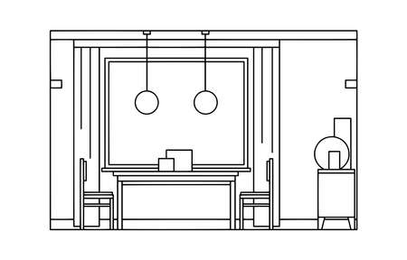 Hand drawn linear sketch of the interior living room. Outline drawing window, table, chair, lamp. Vector illustration on sketch style. Design for coloring page, banner, flyer, template, landing page