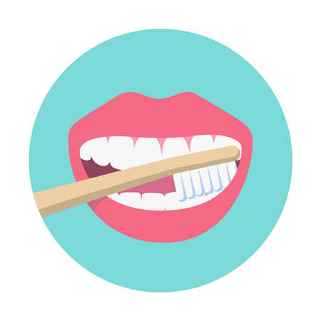 Open mouth and bamboo toothbrush isolated on green background. Teeth cleaning and oral hygiene. Dental care concept. Vector flat illustration.