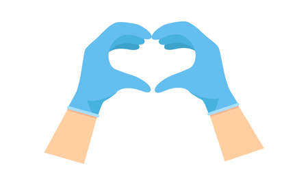 Hands on blue glove making heart sign isolated on white background. Vector flat illustration. Template for website, landing page, banner