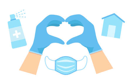 Hands on blue glove making heart sign with sanitiser, house, medical mask isolated on white background. Vector flat illustration. Template for website, landing page, banner Vettoriali