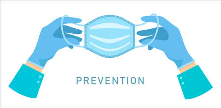 Hands holding medical mask isolated on white background. ... Coronavirus prevention. Protective medical face mask against viruses and bacteria. Vector illustration flat design. Hands in rubber gloves.