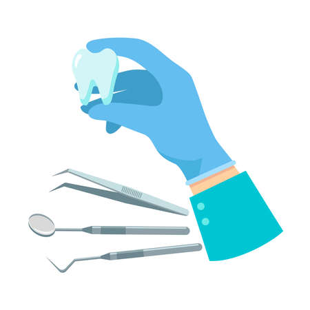 Hand of doctor holding tooth with instruments isolated on white background. Vector flat illustration. Template for website, landing page, banner Vettoriali