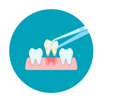 Dental treatment icon. Examination patient's tooth. Dental healthcare. Stomatology concept. Vector illustration flat design. Design for banner, card, clinic