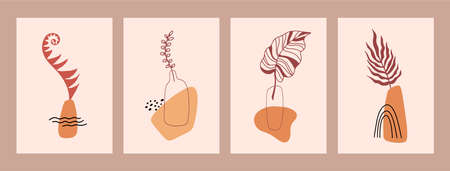 Set of abstract still life in pastel colors. Hand drawn vase, leaves, shapes. Collection of contemporary art. Abstract geometrical elements, shapes for print, social media, posters, postcards, flyer. Vettoriali