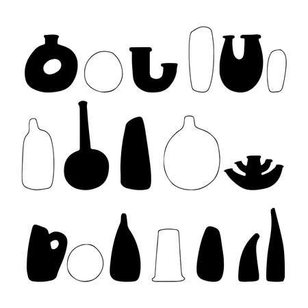 Abstract set outline and silhouette vases. Hand drawn outline vases. Collection of contemporary art. Abstract geometrical elements, shapes for print, social media, posters, postcards, flyer.