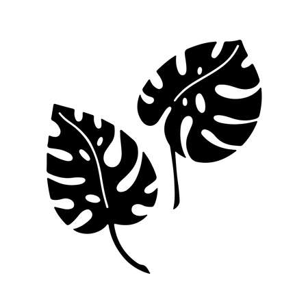 Hand drawn branches set of tropical plants leaves monstera isolated on white background. Silhouette vector illustration. Design for pattern, template, banner, posters, invitation, greeting card Vettoriali