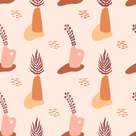 Seamless pattern with abstract hand drawn terracotta vases in pastel colors and branch on beige backgroud. Abstract geometrical design for textile, wrapping, backdrop. Vettoriali
