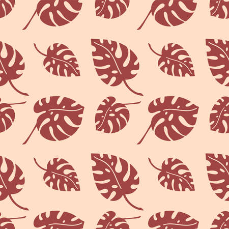 Seamless pattern with branches of tropical plants leaves isolated on beige background. Silhouette vector illustration. Design for textile, wrapping, backdrop, banner Vettoriali