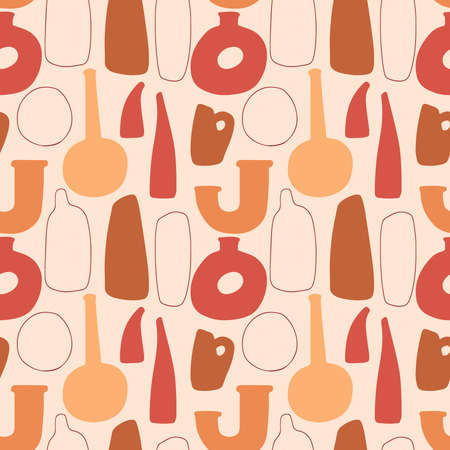 Seamless pattern with abstract hand drawn terracotta vases in pastel colors on beige backgroud. Abstract geometrical design for textile, wrapping, backdrop.