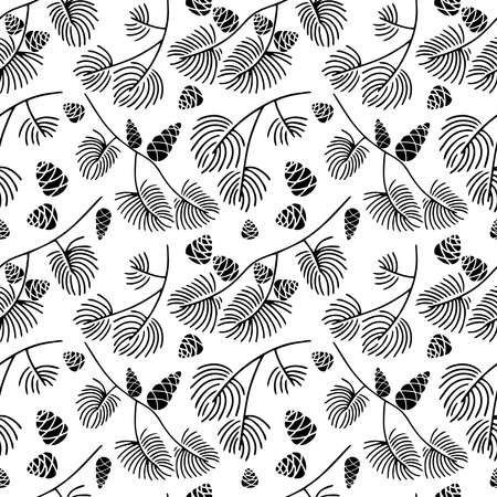 Hand drawn seamless pattern doodle of fir tree branch with cones isolated on white background. Conifer sketch. Vector illustration. Design for wrapping, wallpaper, textile