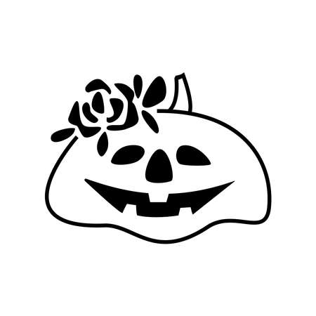 Hand drawn Halloween holiday season pumpkin with flower wreath isolated on white background. Vector doodle illustration. Design for print, textile, greeting card