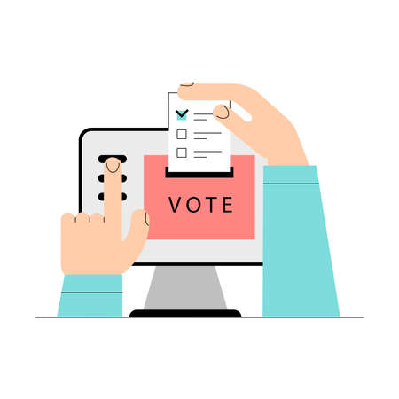 Electronic voting concept. Online electronic poll. Flat vector illustration with laptop screen, voting box and voter hands and putting papper vote. Electronic voting system for election, government