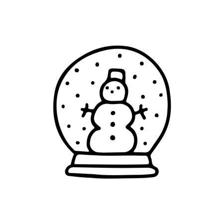 Hand drawn doodle snow globe with snowman isolated on white background. Vector flat illustration. Design for Xmas holiday cards, banners, posters, web design.