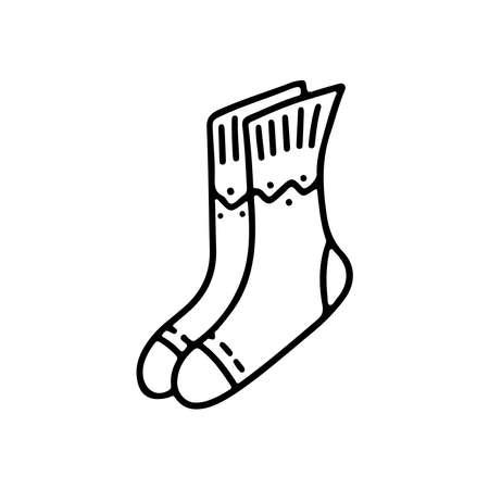 Hand drawn doodle warm winter socks isolated on white background. Vector outline illustration. Design for greeting card, flyer, banner, sale, market