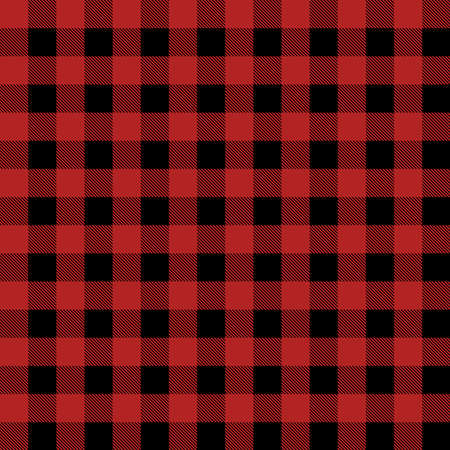 Plaid seamless pattern in red and black. Tartan plaid for dress, skirt, flannel shirt, autumn, winter fabrics, background. Buffalo check gingham style. Vector flat illustration.