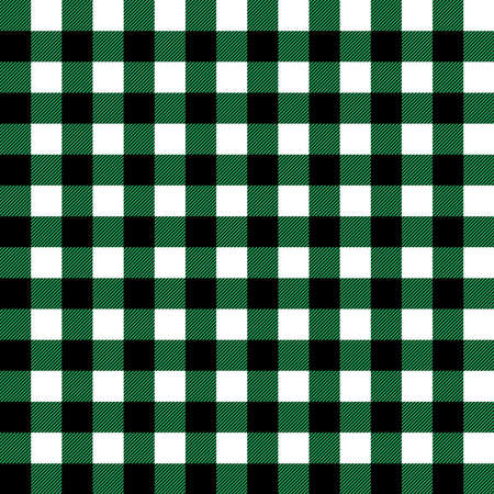 Plaid seamless pattern in green, white and black. Tartan plaid for dress, skirt, flannel shirt, autumn, winter fabrics, background. Buffalo check gingham style. Vector flat illustration.