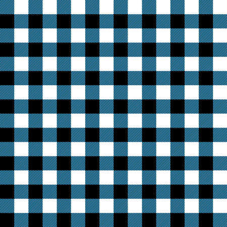 Plaid seamless pattern in blue, white and black. Tartan plaid for dress, skirt, flannel shirt, autumn, winter fabrics, background. Buffalo check gingham style. Vector flat illustration.
