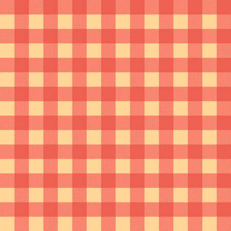 Plaid seamless pattern in beige and orange. Tartan plaid for dress, skirt, flannel shirt, autumn, winter fabrics, background. Buffalo check gingham style. Vector flat illustration. 向量圖像