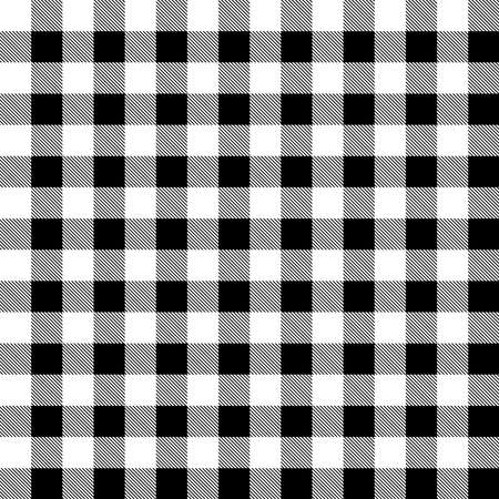 Plaid seamless pattern in white and black. Tartan plaid for dress, skirt, flannel shirt, autumn, winter fabrics, background. Buffalo check gingham style. Vector flat illustration.
