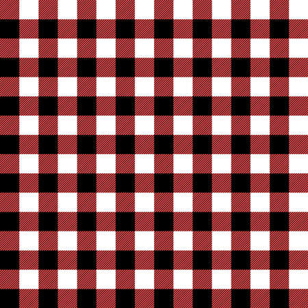 Plaid seamless pattern in red, white and black. Tartan plaid for dress, skirt, flannel shirt, autumn, winter fabrics, background. Buffalo check gingham style. Vector flat illustration.
