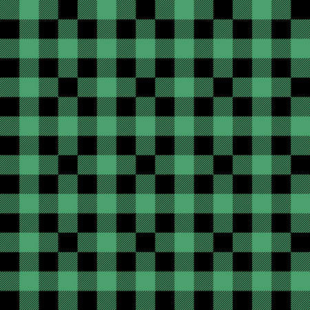 Plaid seamless pattern in green and black. Tartan plaid for dress, skirt, flannel shirt, autumn, winter fabrics, background. Buffalo check gingham style. Vector flat illustration.