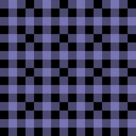 Plaid seamless pattern in blue and black. Tartan plaid for dress, skirt, flannel shirt, autumn, winter fabrics, background. Buffalo check gingham style. Vector flat illustration.