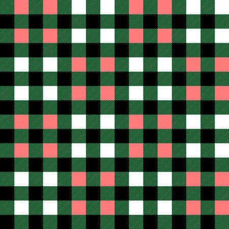 Plaid seamless pattern in green, white and pink. Tartan plaid for dress, skirt, flannel shirt, autumn, winter fabrics, background. Buffalo check gingham style. Vector flat illustration. 向量圖像