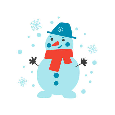 Hand drawn Merry Christmas clipart with snowman, snowflakes isolated on white background. Vector flat illustration. Design for greeting card, banner, web, sticker, posters, gift tags and labels