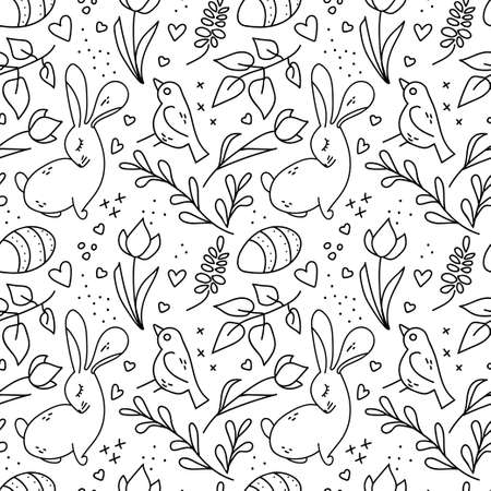 Easter cute doodle seamless pattern with heart, bird, eggs, rabbit, tulip, branch isolated on white background. Vector illustration. Romantic backdrop for holiday card, gift wrapping paper, wallpaper 일러스트