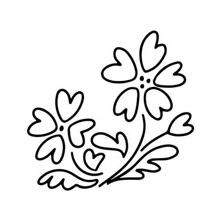 Hand drawn flowers with a hearts in doodle style isolated on white background. Vector outline illustration. Design for greeting card, banner, web, sticker, coloring book, Valentines day