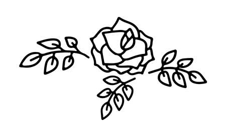 Hand drawn rose flower with leaves in doodle style isolated on white background. Vector outline illustration. Design for greeting card, tattoo, banner, web, sticker, coloring book, Valentines day
