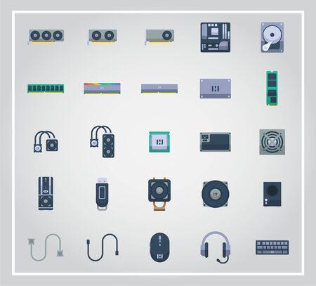 Computer hardware icon set 矢量图片
