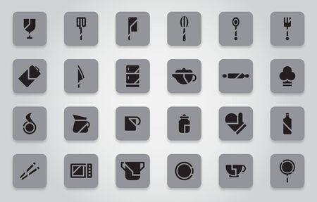 black kitchen icon set