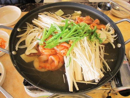 Vegetables, seafood, soup.