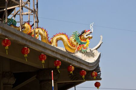 Dragon on the roof of the temple, in Thailand. photo