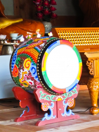 drum: Colorful wooden furniture and furnishings, in Korea.