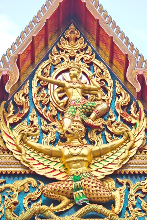 Indra riding Garuda, Thai temple. Stock Photo - 12467304
