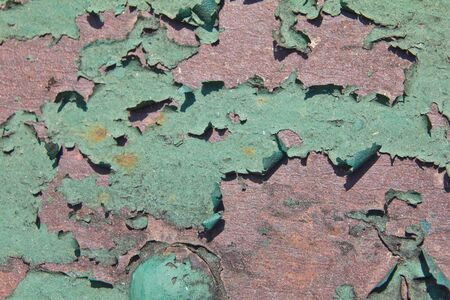 Green on the steel surface. Stock Photo