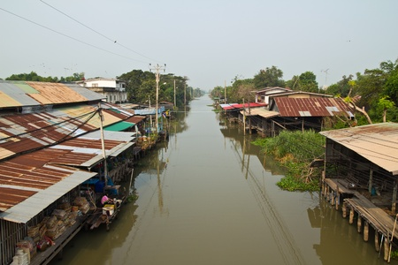 Wood houses on the river  The market for 100 years, Thailand on February 04 2012