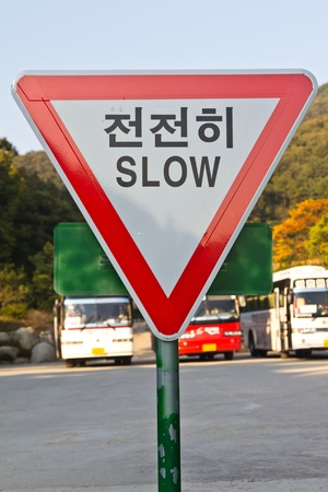 Red diamond-shaped road sign cautions Slow Down