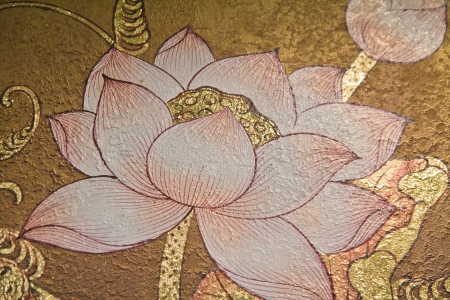 the architecture is ancient: painting lotus