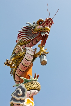 Asian temple dragon, sky background in Thailand  photo