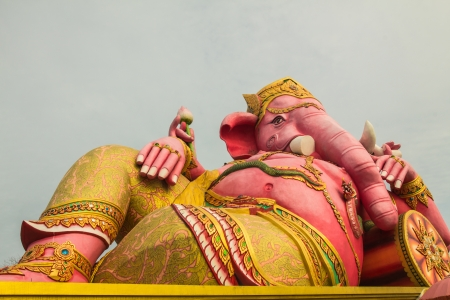 Ganesha statue big pink in Thailand photo