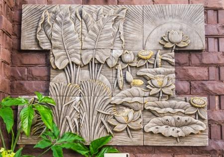 bas relief: D�coration Bas-relief sur le mur ext�rieur Banque d'images