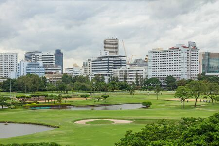 distinctive: The landscape of golf courses in Bangkok, a retail district dominated by towers and skyscrapers, surrounds. Editorial