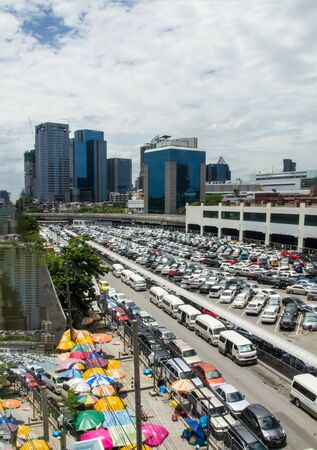 High angle view, crowded parking and skyscrapers in the city, Bangkok. Editorial
